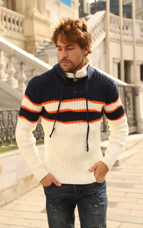 Pull col avec corde Homme Marine
