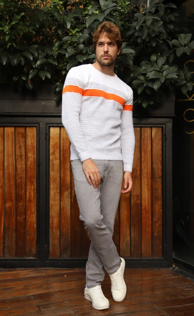 Pull col rond Homme Blanc