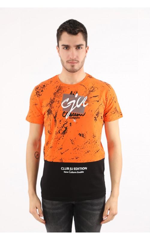 T-Shirt Homme Orange Slim