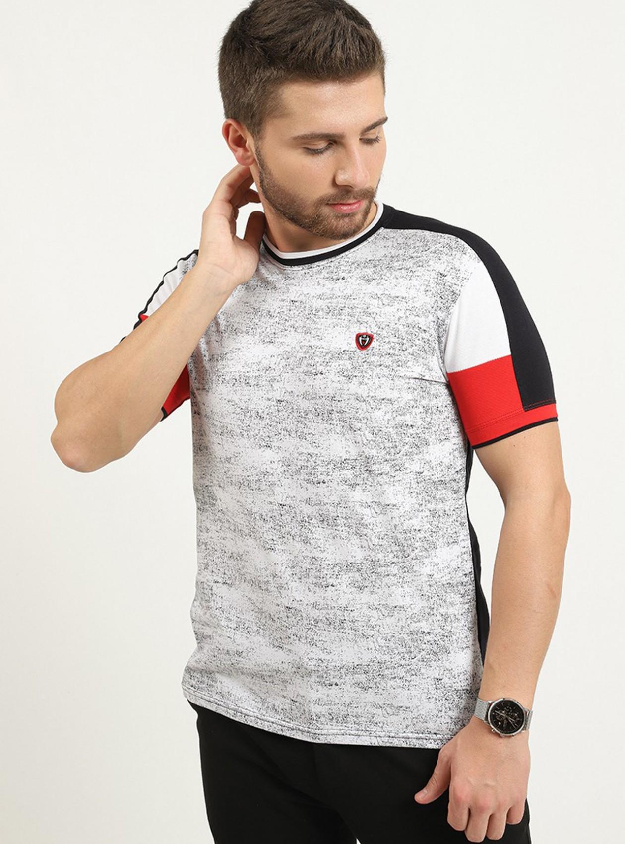 T-shirt marine manches courtes logo plaque poitrine