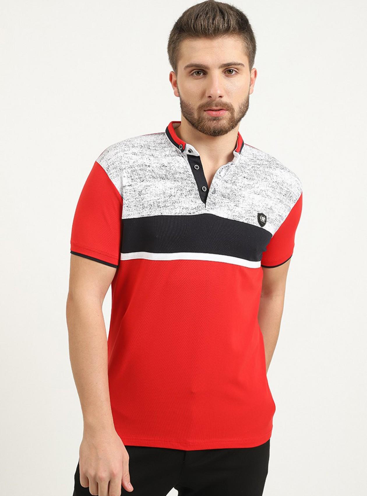 Polo rouge manches courtes avec logo plaque poitrine