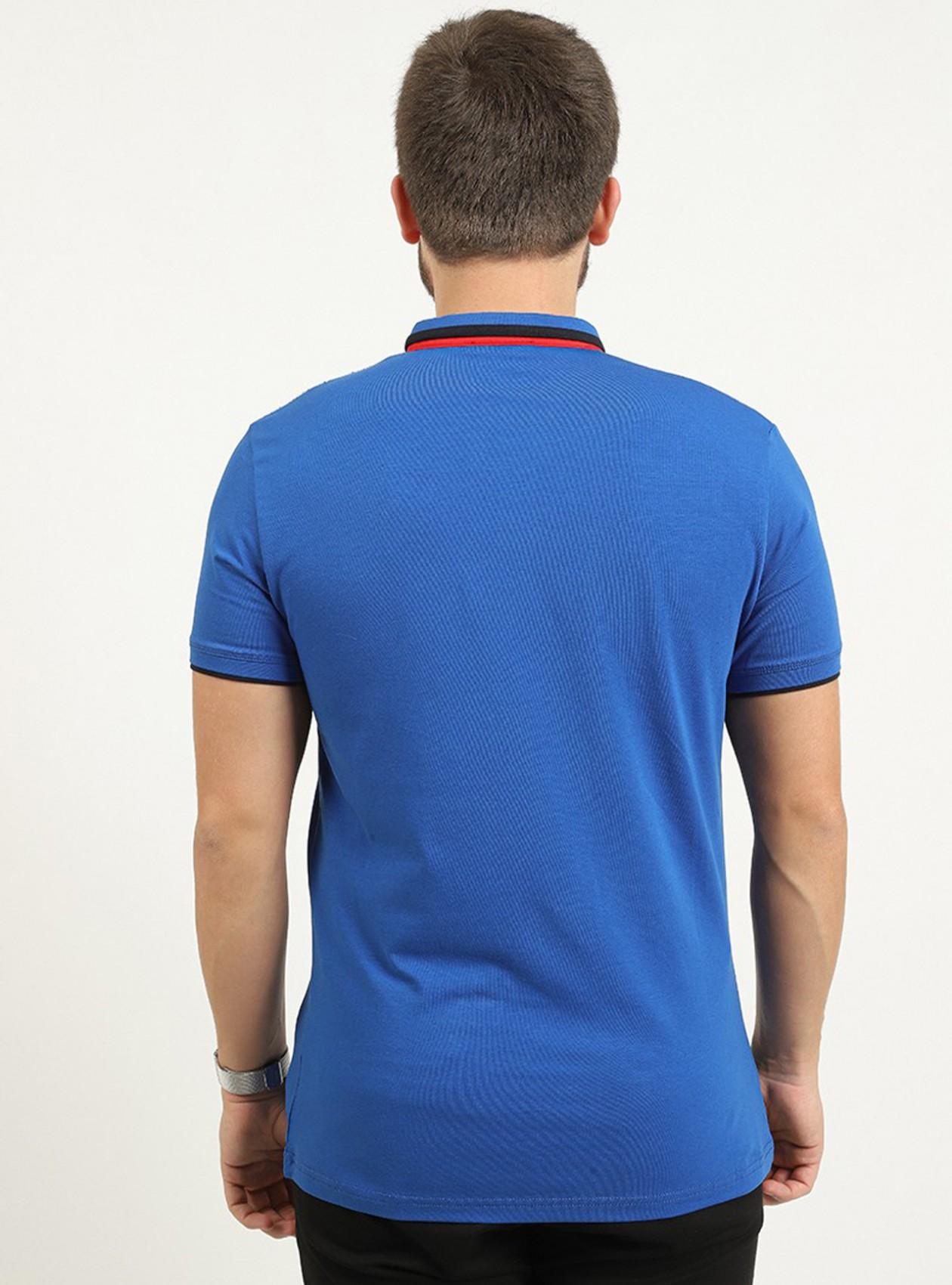 Polo saks manches courtes avec logo plaque poitrine