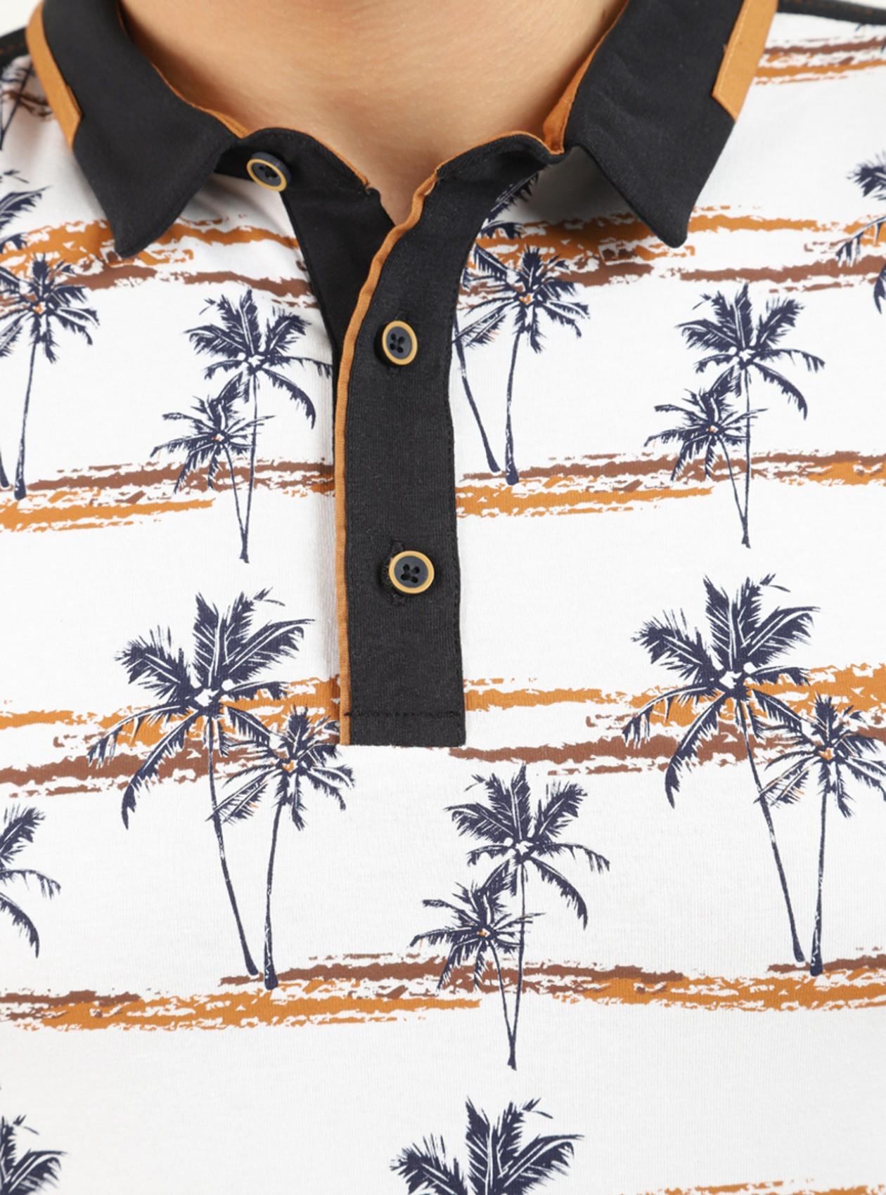 Polo à motif palmier homme Blanc