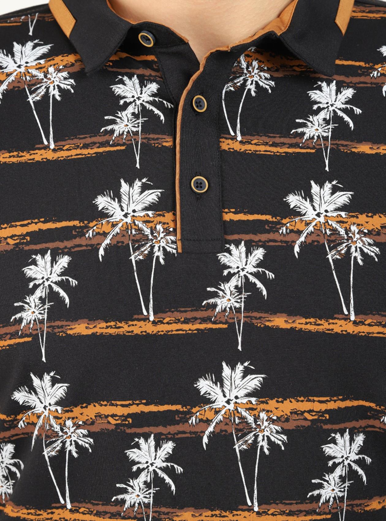Polo à motif palmier homme marine