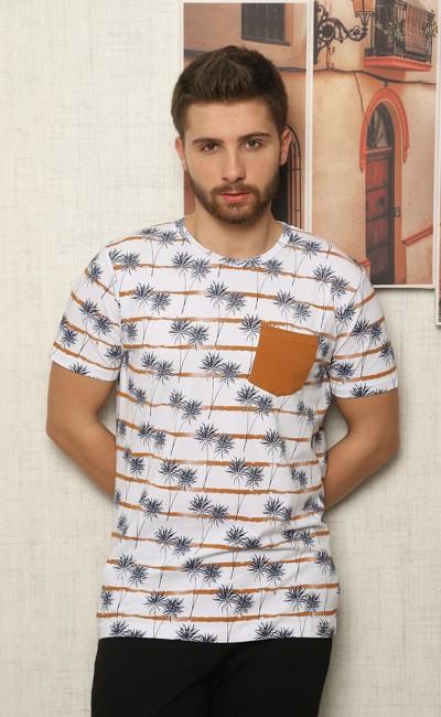 Tee-shirt homme blanc avec poche poitrine