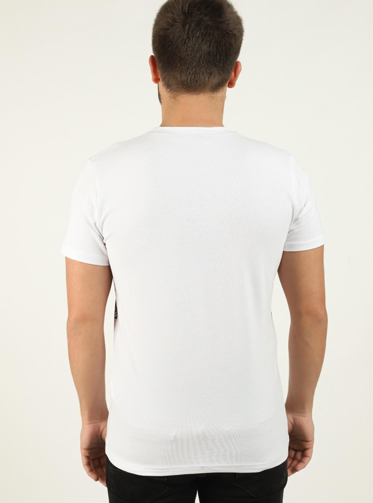 Tee-shirt homme Blanc avec bandes contrastantes
