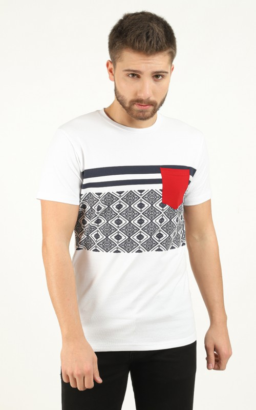 Tee-shirt homme Blanc avec bandes contrastantes