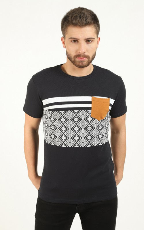 Tee-shirt homme Marine avec bandes contrastantes