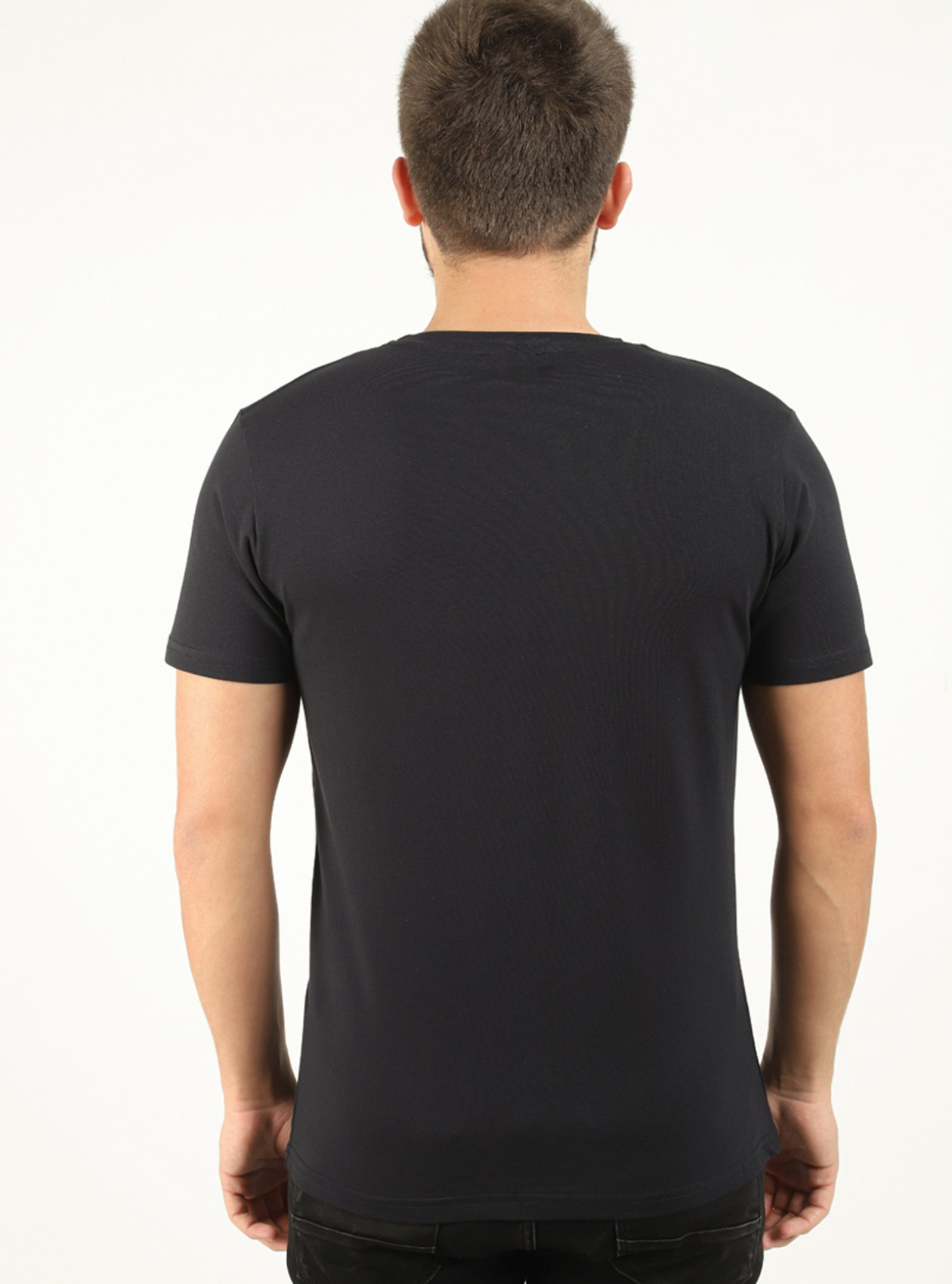Tee-shirt homme Marine avec bandes contrastantes