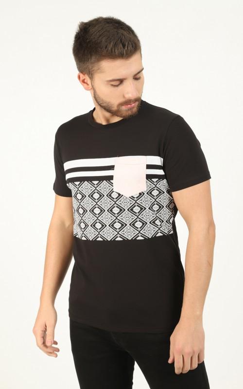 Tee-shirt homme Noir avec bandes contrastantes