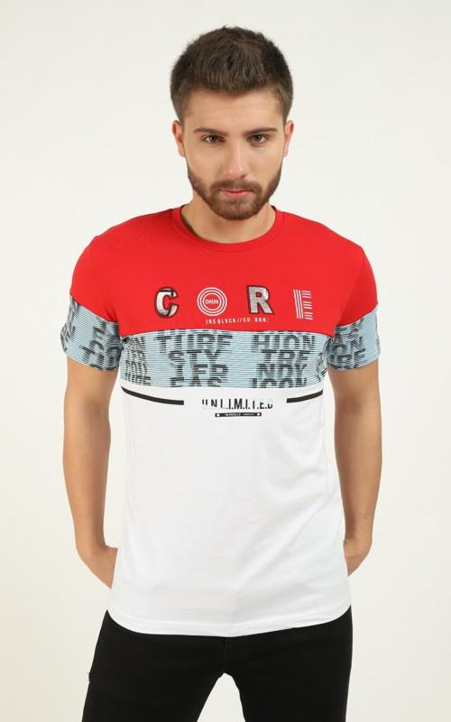 T-shirt Rouge détail brodé