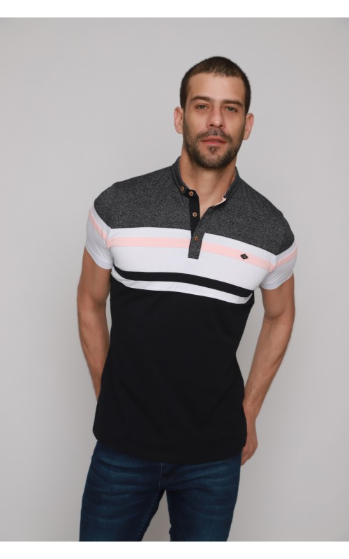 Polo Rayure Homme Rose