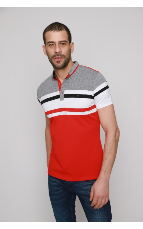 Polo Rayure Homme Rouge