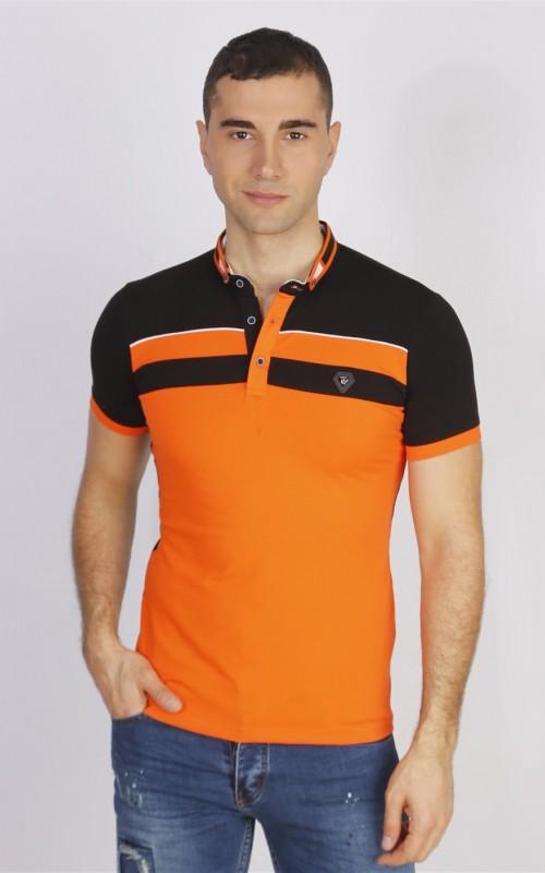 Polo Homme Orange Coton