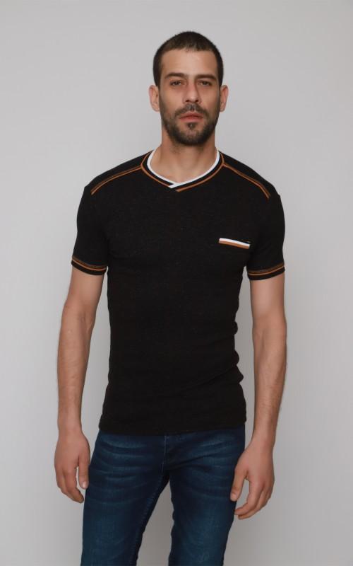 T-Shirt Homme Noir Slim