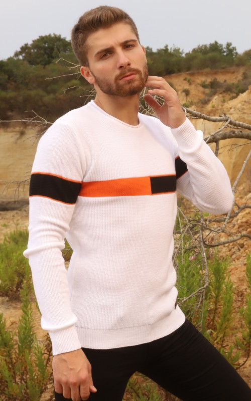 Pull Col Rond Tricolore Homme Blanc